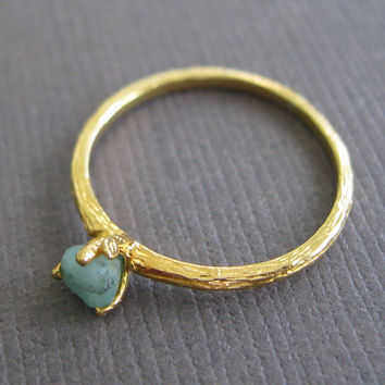 Organic Raw Petite Green Emerald 22k Vermeil Stacking Clutch Cocktail Ring