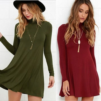 Womens Casual Simple Wild High Collar Knit Skirt Dress