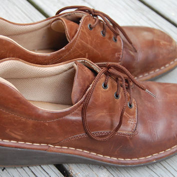 Vintage 90s Bass Chunky Lace Up Brown Leather Wedge Heeled Oxfords Shoes Ladies Size 7