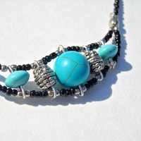 Native American Inspired Beaded turquoise necklace by CraftyKikis