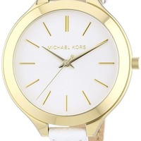 ONETOW Michael Kors Watches Slim Leather Runway Watch (White/Gold)