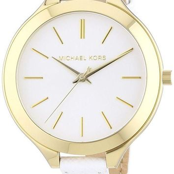 DCCK2JE Michael Kors Watches Slim Leather Runway Watch (White/Gold)