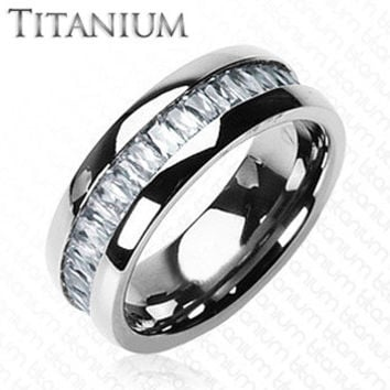 Titanium On The Rocks - Impeccable Solid Titanium Intense Design Comfort Fit Ring with Cubic Zirconias Center Wedding Band