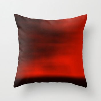 Abstract Pillow Cover, Red Blurred Sky Pillowcase, Nature Pillow, Landscape Photography, Minimalist Photo, Red, Crimson