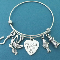 MY BEST CATCH, Lighthouse, Fish, Hook, Fishing boat, Silver, Bangle, Bracelet, Lovers, Best friends, Friendship, Gift, Jewelry