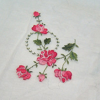 Red Rose Embroidered Handkerchief Hankie, Ladies Purse Accessory, Pocket Accessory, Vintage White Linen Rose Handkerchief, Wedding Accessory