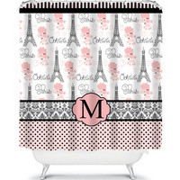 French Poodle Paris Monogram Shower Curtain