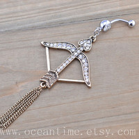 bling bow and arrow Belly Button Rings,bow Navel Jewlery,belly button ring,tassels belly button ring,bestfriend belly ring,Love's Arrow