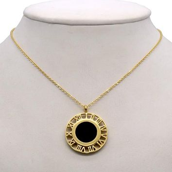 Cassia Roman Numerals Necklace - Stainless Steel