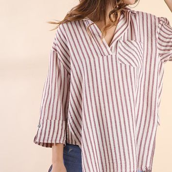 Umgee striped pocket top
