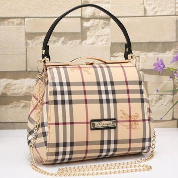 Burberry Women Leather Shoulder Bag Satchel Tote Handbag 3