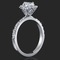 Petite Tulip Style Flower Ring Medium Thickness Band Encrusted Diamonds – bbr2531 | Unique Engagement Rings, Flower Rings, Vintage & Antique Engagement Rings