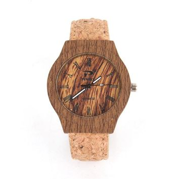 Cork watch Natural Dark wooden color unisex men women Vegan Quartz Casual Wrist watch reloj Wa-58 from Portugal