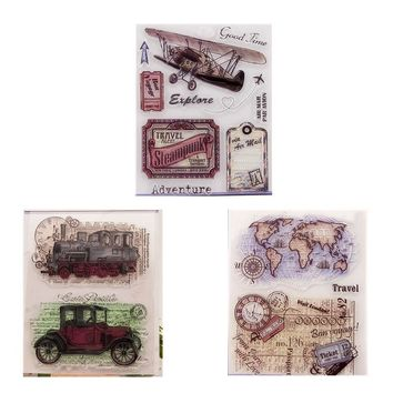 3pc lot vintage car plane Transparent Stamp map explaore traveling memory words  Clear  Seal DIY Scrapbooking stamps Decorative