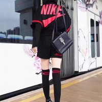 """Nike"" Women Casual Stripe Letter Print Zip Cardigan Hooded Short Sleeve Shorts Set Two-Piece Sportswear"