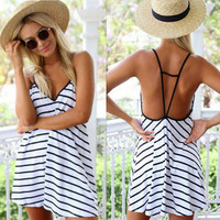 Womens Black and White Striped Dress