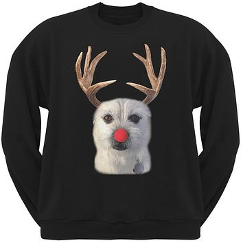 Funny Reindeer Dog Ugly Christmas Sweater Black Sweatshirt