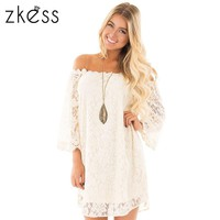 Zkess 2017 Women Summer Lace Dress Vintage Off The Shoulder 3/4 Sleeve Floral sweet Short Front Long Back Party Dresses LC220033