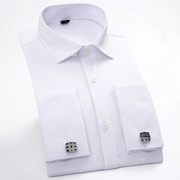 Men French Cuff links Long Sleeve business shirts, Slim Fit French cut.