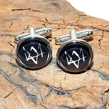 Watch dogs 2 logo cufflinks, Watch dogs Video Game Artwork, Watch dogs simbol gamer cuff link, Watch dogs emblem, Watch dogs patch cufflinks