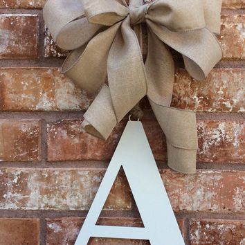 Monogram Wreath,Metal Monogram,Metal door letter,Wedding Letter,Wedding Monogram,front door monogram,Back door Monogram,monogram with ribbon