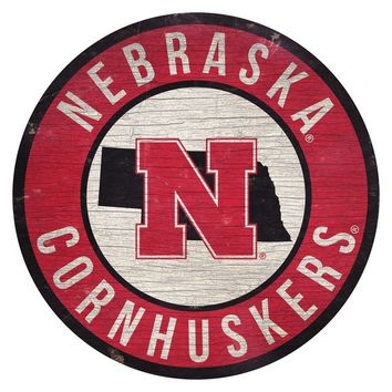 Nebraska Cornhuskers Sign Wood 12 Inch Round State Design