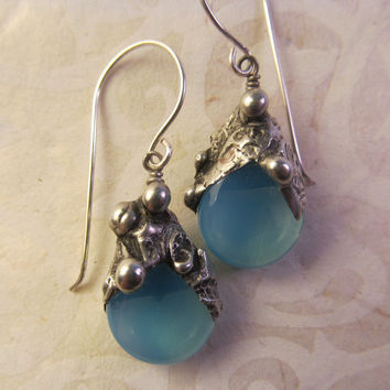 Timeless Relics Collection one-of-a-kind Earrings - Milky (almost) Turquoise Blue