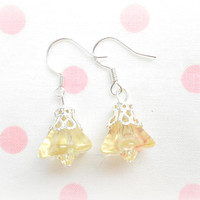 Light Yellow Glass Earrings - Sterling Silver Bell Flower Earring - Bridesmaids Jewelry - Wedding Jewellery