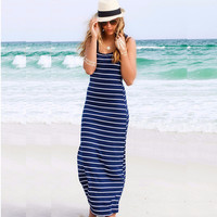 Vestidos Women Summer dress Casual Maxi vestido de renda Long Dress Beach Stripped sleeveless dresses women beach dress