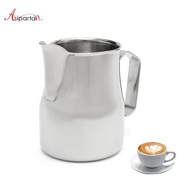 Asipartan Stainless Steel Milk Frothing Jug Espresso Coffee Pitcher Cup 350/500/750ml Cappuccino Pull Flower Cup Jugs Cafe Tools