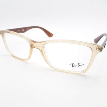 377c68171234e Ray Ban 7047 5770 Beige Brown Transparent Eyeglass Frame New AUT