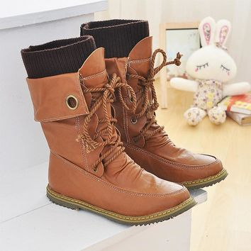 2016 winter new women Casual ankle boot female fashion casual snow boots lace up stitc
