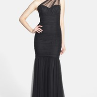 Women's Amsale One Shoulder Tulle Mermaid Gown
