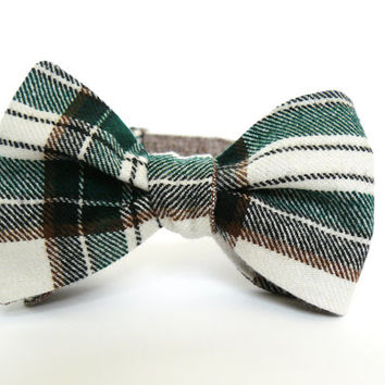 Bow Tie for Men by BartekDesign: self tie plaid green white brown double sided tweed linen bow tie for him gift informal grooms