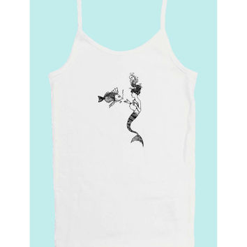 Margarita, The Little Mermaid (100% White cotton tank top with vintage little mermaid print)