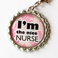 Nurse, Nurse charm, Nurse Zipper charm, backpack zipper pull, zipper pull, purse charm, bottle cap, Gift for Nurse, Pink, nice nurse
