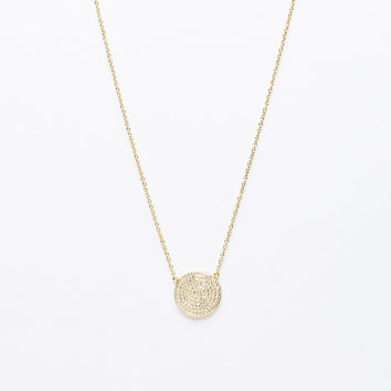 Gold plated micro-pave flat disc necklace