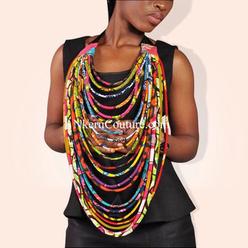 Ankara Multistrand Necklace African Wax Jewelry Multi-layered Rope Necklace RJ22