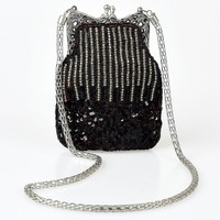 Iconic By UV Vintage Style Black & Red Hand Beaded Flapper Purse