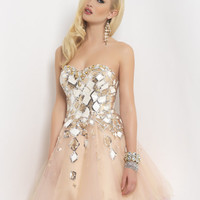 Blush Broken Elegance Sequin Strapless Homecoming Dress - Unique Vintage - Homecoming Dresses, Pinup & Prom Dresses.