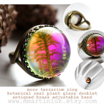 Miniature Moss Terrarium Ring Trending Woodland Botanical Real Plant Glass Dome Ring Brass Glass Leaf Jewelry For Her Gift Idea