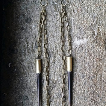 Porcupine Quill Earrings, Bullet Shell Porcupine Quill Earrings