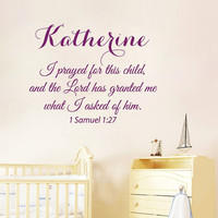 Wall Decals Vinyl Decal Sticker 1 Samuel Personalized Name Girl Quote I Prayed For This Child Interior Kids Nursery Baby Room Decor KT160