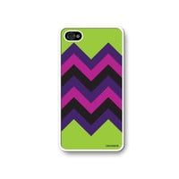 Chevron Pattern Lime Green, Pink & Purple HIPSTER Apple Iphone 4 Quality TPU Soft Rubber Case for Iphone 4/4s - AT&T Sprint Verizon - White Case