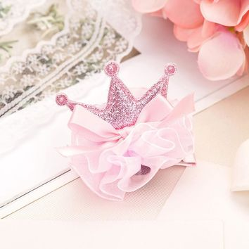 1 pcs Lovely Cute Girls Crown Princess Hair Clip Lace Bow Shiny Hairpins Yarn Crown Children Hair Accessories