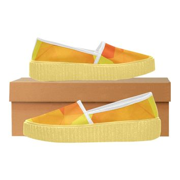 Women's Tangerine Orange Spade Satin Cloth Slip-on Shoes