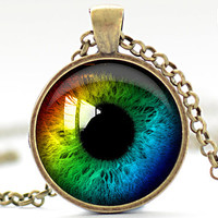 Rainbow Eye Necklace, Third Eye Jewelry, Evil Eye Charm, Eyeball Pendant (952)