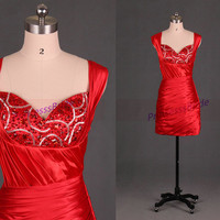 Short red satin homecoming dress in 2014,sexy sheathy women gowns for holiday party,cheap chic prom dresses under 100.