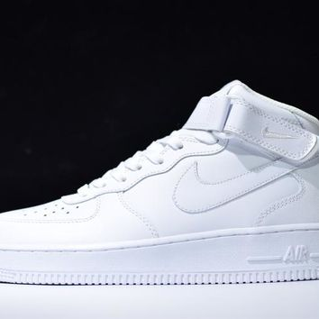 Originals Nike Air Force One 1 Mid All White AF1  07 315123-111 a76cdfdb85