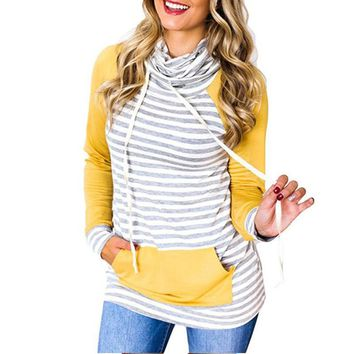 Striped Patchwork Women Hoodies Sweatshirt Autumn Elbow Patch Casual Pullover Yellow Pink Hoodie Pocket Jumper